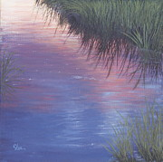 Sea Shore Prints Painting Originals - Sunset Marsh by Cindy Lee Longhini