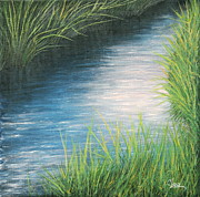 Grasses Prints - Sunset Marsh Series Afternoon Print by Cindy Lee Longhini