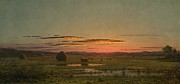 Red Sky Paintings - Sunset by Martin Johnson Heade