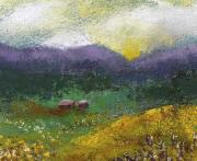 Field Pastels Prints - Sunset Meadow Print by David Patterson