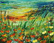 Poppies Paintings - SUNSET MEADOW  series by Teresa Wegrzyn