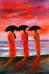 Monks Paintings - Sunset Meditation by Sally Seago