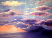 Sun Rays Painting Posters - Sunset Poster by Melissa Joyfully  Creativity Awakened