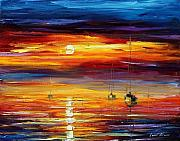 Yacht Painting Originals - Sunset New by Leonid Afremov