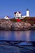 Nubble Lighthouse Posters - Sunset Nubble Poster by Greg Fortier