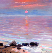 Waterscape Drawings Prints - Sunset ocean seascape oil painting Print by Svetlana Novikova