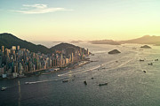 Aerial View Prints - Sunset Of Hong Kong Victoria Harbor Print by Jimmy LL Tsang