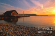 Door Reflections Posters - Sunset on Andersons Dock - Door County Poster by Sandra Bronstein