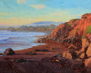 Flying Seagull Painting Framed Prints - Sunset on Cambria CA Framed Print by Gary Kim