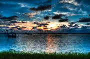 Sun Sky Clouds Posters - Sunset on Cedar Key Poster by Rich Leighton