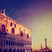 Italian Sunset Posters - Sunset On Doges Palace In Venice Poster by Marco Misuri
