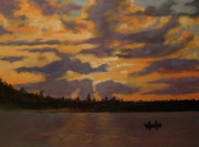 Quebec Paintings - Sunset on Lake Kipawa Quebec by Walt Maes