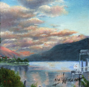 Switzerland Painting Originals - Sunset on Lake Locarno by Leah Wiedemer