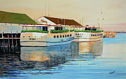 Northern Michigan Paintings - Sunset on Mackinac by Keith Grindall