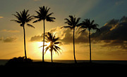 Pipeline Prints - Sunset On Molokai Print by Bob Christopher