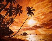 Tropical Sunset Prints - Sunset on Paradise Cove Print by Al  Molina