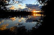Water Reflections Photos - Sunset on Polly Lake by Larry Ricker
