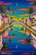 Fine Art Original Prints - Sunset on Retro Canal Print by Frank Strasser