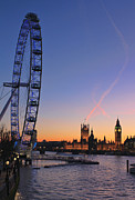 Houses Photos - Sunset on river Thames by Jasna Buncic