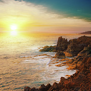 Sun In Cloud Prints - Sunset On Rocks Print by ©jesuscm