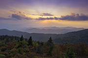 Autumn Photographs Photo Prints - Sunset on the Blue Ridge Parkway Print by Rob Travis