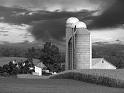 Silos Posters - Sunset On The Farm BW Poster by David Dehner
