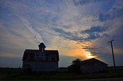 Illinois Barns Photo Prints - Sunset on the Farm Print by Daniel Ness