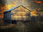 Farm Landscapes Framed Prints - Sunset On The Farm Framed Print by Kathy Jennings