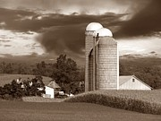 Field. Cloud Prints - Sunset On The Farm S Print by David Dehner