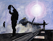 F-18 Painting Posters - Sunset on the Flight Deck Poster by Sarah Howland-Ludwig
