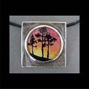 Landscapes Jewelry Originals - Sunset on the Hill Necklace by Brenda Berdnik