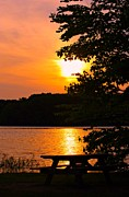 Sunset On The Lake Prints - Sunset on the Lake Print by Lila Fisher-Wenzel