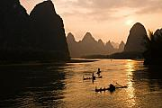 Orient Prints - Sunset on the Li River Print by Michele Burgess