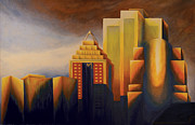 Montreal Painting Framed Prints - Sunset on the Montreal Skyline Framed Print by Duane Gordon