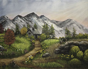 Sun Rays Painting Prints - Sunset on the Mountain Cabin Print by Gail Darnell