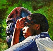 Gorilla Painting Posters - Sunset On The Myth Poster by John Lautermilch