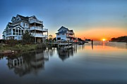 Sunset On The Lake Prints - Sunset On The OBX Sound Print by Adam Jewell