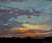 Prairie Sunset Paintings - Sunset on the Prarie by Margaret Aycock