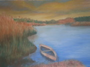 Rowboat Pastels - Sunset on the River by Susan Haiken