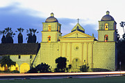 Historical Housing Prints - Sunset On The Santa Barbara Mission Print by Rich Reid