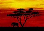 African Art Painting Posters - Sunset on the Serengeti Poster by Michael Vigliotti