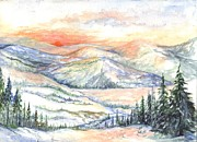 Snowy Trees Drawings - Sunset On The Slopes by Carol Wisniewski