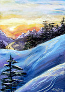 Sunset On The Snow Print by Trudy Morris