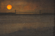 Sunset Prints Posters - Sunset On The Verrazano Bridge Poster by Thomas York