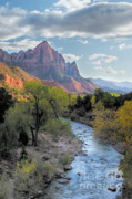 Out West Prints - Sunset on The Watchman Print by Sandra Bronstein
