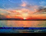 Sunset Seascape Mixed Media Prints - Sunset on the Water Print by Anthony Caruso