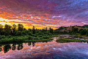 Umpqua River Framed Prints - Sunset on Umpqua River Framed Print by Greg Nyquist