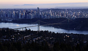 Lions Gate Bridge Prints - Sunset on Vancouver city Print by Pierre Leclerc