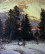 Sunset Scenes. Painting Posters - Sunset over a Winter Landscape Poster by Abram Efimovich Arkhipov