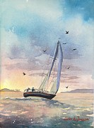 Sunset Sailing Prints - Sunset over Boston Print by Laura Lee Zanghetti